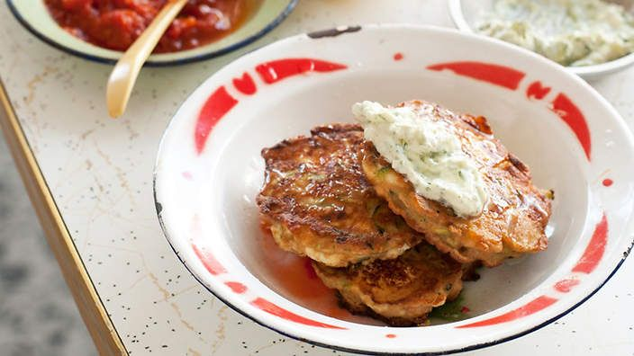 Zucchini, ricotta and chickpea fritters