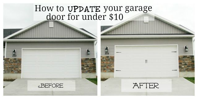 I love this idea for updating garage doors.  I think I might even try to make the top squares look like windows in addition to adding the hardware