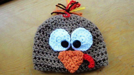 crochet thanksgiving baby beanie | Turkey Beanie, Thanksgiving, Fall, Crochet Baby Hat, Photo Prop - Hats ...