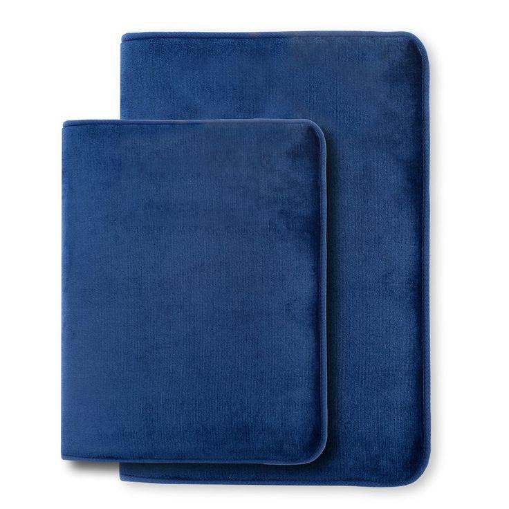 2 Piece Royal Blue Bath Mats Memory Rugs Small 17X24 Large 20X32 Free Shipping