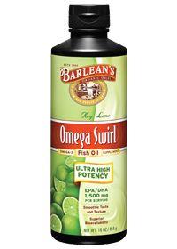 Barlean's Omega Swirl Ultra High Potency Omega-3 Fish Oil Supplement tasty Key Lime pie 16 Fl Oz