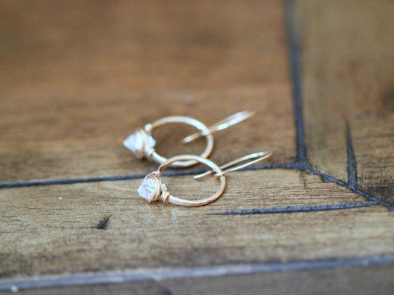 Herkimer Diamant Creolen Petite Quarz Edelsteine von SaressaDesigns