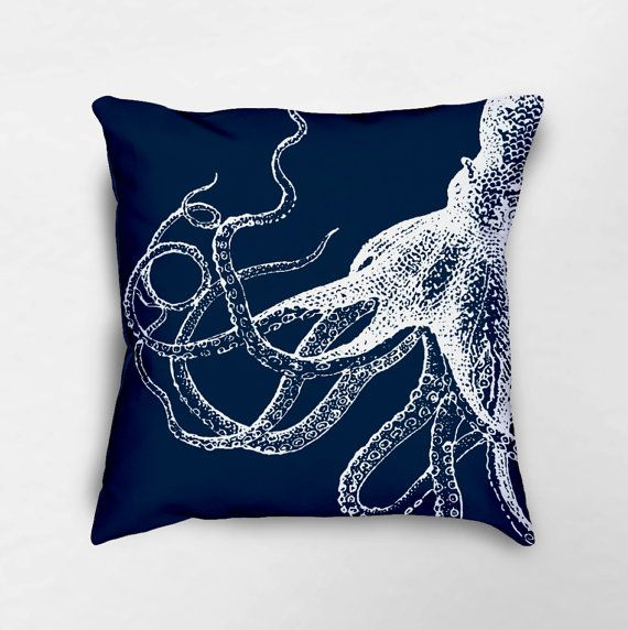 Octopus Throw Pillow Nautical Pillows Octopus Decor by Loftipop