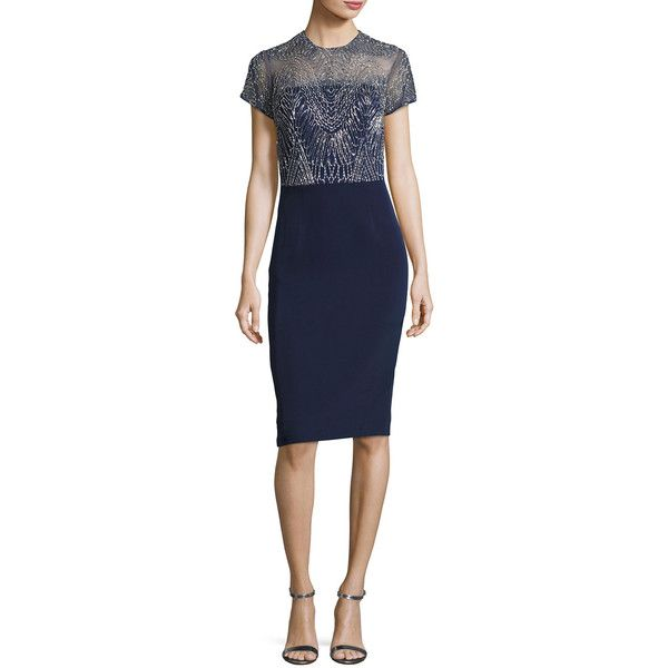 David Meister Short-Sleeve Georgette Metallic Cocktail Dress (685 CAD) ❤ liked on Polyvore featuring dresses, navy, navy blue cocktail dresses, blue sheath dress, strapless cocktail dresses, navy blue dress and blue strapless dress