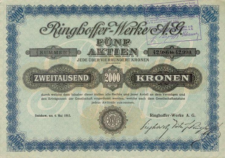 Ringhoffer-Werke AG. (Ringhofferovy závody akc. spol.), (Ringhoffer-Tatra-Werke AG., Závody Ringhoffer-Tatra a.s.). Akcie na 5x 400 Korun (2 000 Korun). Smíchov (Praha), 1911.