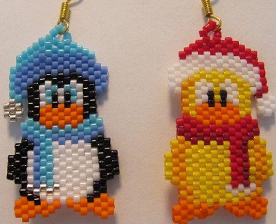 Hand Beaded Winter vrienden eend en Penguin bungelende oorbellen