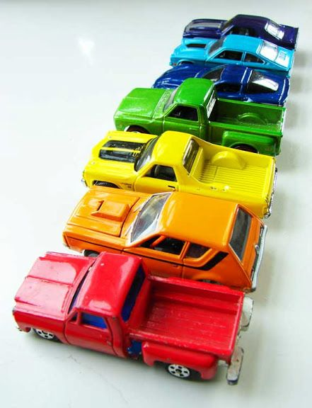Rainbow of cars - my son would so love this!