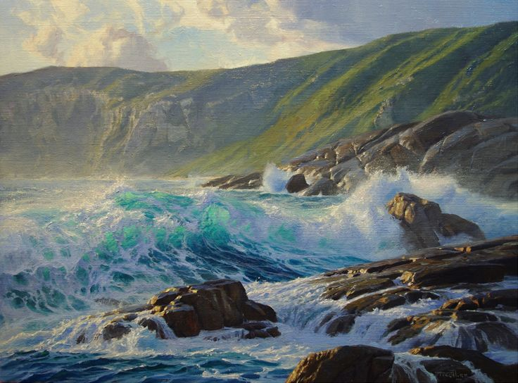 Andrew Tischler - sea painting, gloriously blue waves