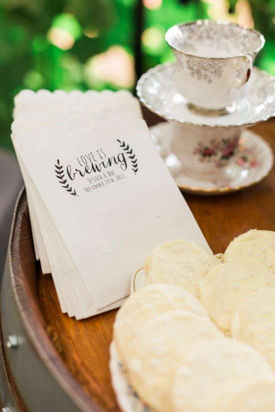 love is brewing favor bags cute idea for a bridal shower tea party