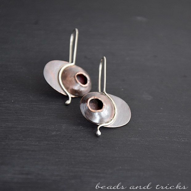 Handforged copper and silver earrings, Black Hole | handmade by Beads and Tricks