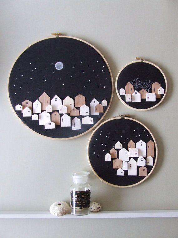 inspiration only, little wooden houses nightscapes framed in an embroidery hoop...very pretty