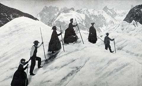 Victorian mountain climbers.  The ladies wore skirts!