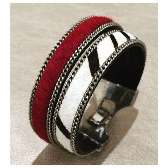 ZEBRA print bracelet,fur bracelet,red fur bracelet,MAID of HONOR gift,Women's jewelry,Animal print bracelet,gifts for her,valentines day