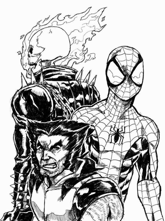Ghost Rider And Spider Man Coloring Pages In 2020 Spiderman Coloring Coloring Pictures Ghost Rider