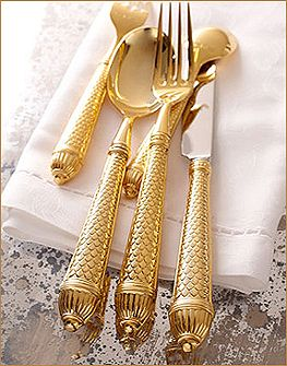 "Finishing touches: Ricci Argentieri ""Raffaello"" gold plated flatware, from Italy."