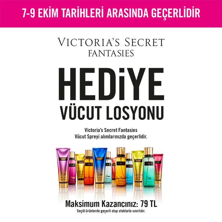 Marmara Park Victoria's Secret'tan VS Fantasies Vücut Spreyi alan herkese 79 TL değerindeki VS Fanstasies Vücut Losyonu hediye! Bu fırsatı kaçırmayın.