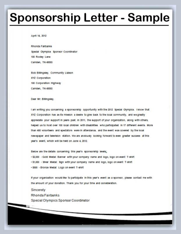 How To Write A Sponsorship Letter template Sponsorship letter