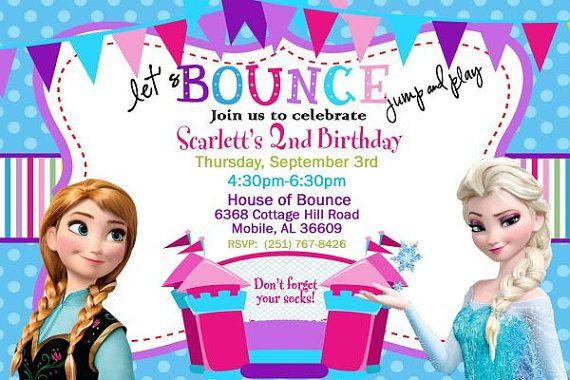 20 Disney Frozen Bounce House Invitation Elsa and by DazzelPrintz