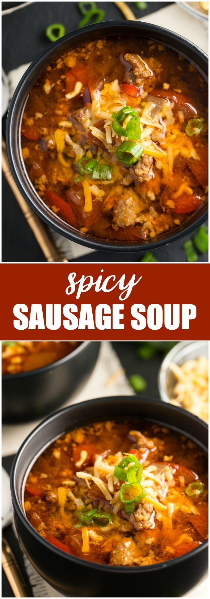 Spicy Sausage Soup - Filled with hot Italian sausage, red peppers and tomatoes. This soup packs a powerful flavour punch!