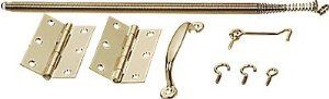 CRL Wood Screen Door Mounting Kit by CR Laurence by CR Laurence. $12.00. Economical Kit The CRL Screen Door Hardware Kit includes all the hardware needed to mount a wood screen door. The handle, hook and hinges are made of brass plated steel. The spring is made of gold iridite spring steel. The kit works for both left or right hand installations. The hinges can be surface or edge mounted and the adjustable spring allows for tension adjustment for light or heavy do...