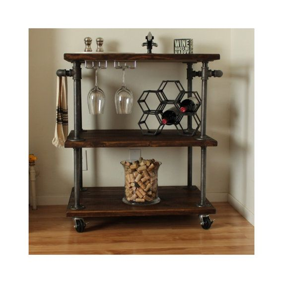 Industrial Bar Cart  3 Tiered Kitchen Cart  by MaverickIndustrial
