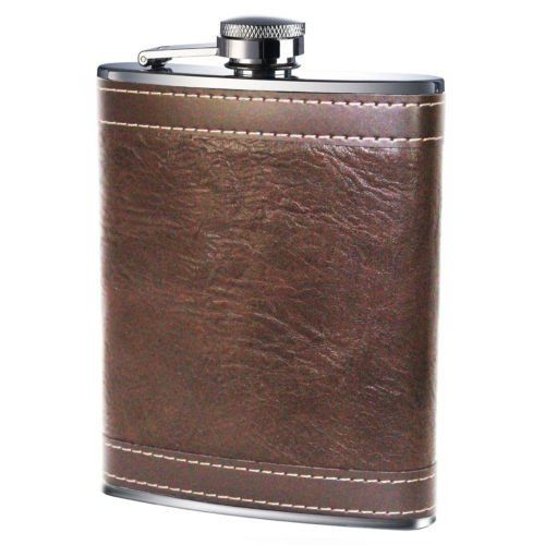 Hip Flask 8oz - Brown Leather Effect. Visit us now and ENJOY 10% OFF + FREE SHIPPING on all orders