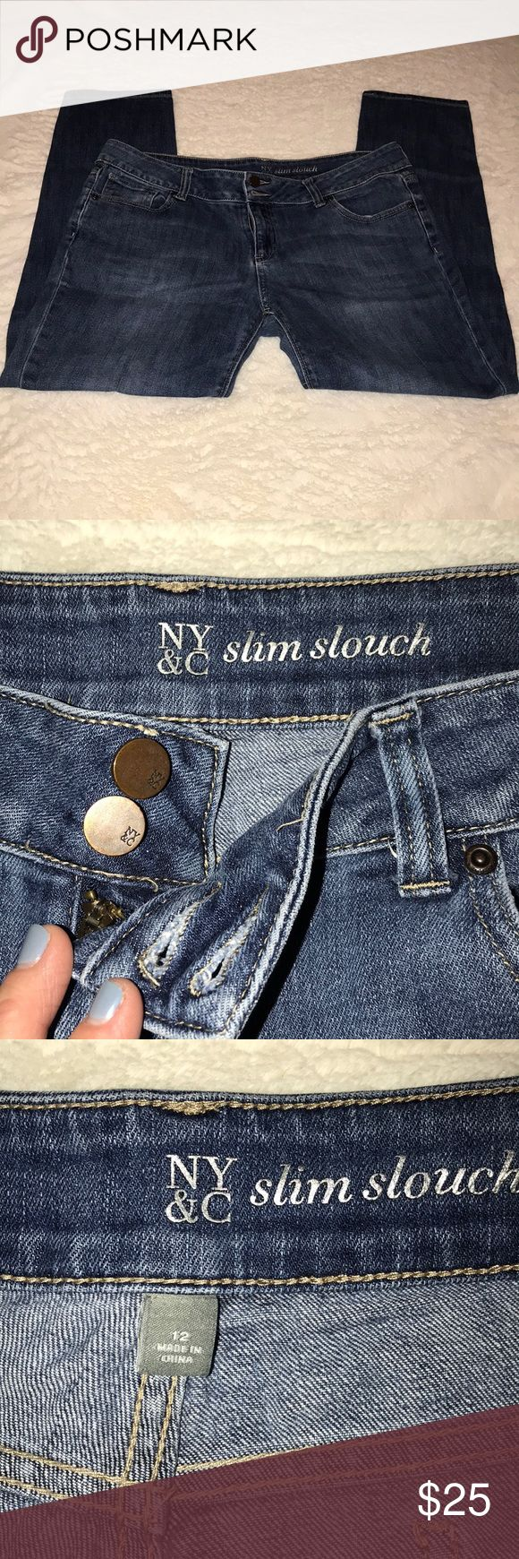 NY & Co Slim Slouch Jean Zip Fly Size 12 New York & Company Slim Slouch Jeans (similar to boyfriend - not as baggy) - great medium wash with light distressing on both front legs - double button and zip fly. Excellent Condition! Worn once! Bundle to save! New York & Company Jeans Straight Leg