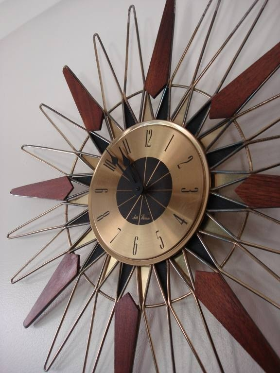 Mid Century Danish Modern Teak & Brass Starburst Clock by Seth Thomas
