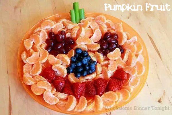 Pumpkin shaped fruit tray - Halloween - party food ideas