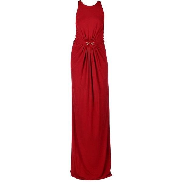 Gucci Long Dress ($950) ❤ liked on Polyvore featuring dresses, maroon, red jersey, red jersey dress, red zip dress, jersey dress and maroon long dress