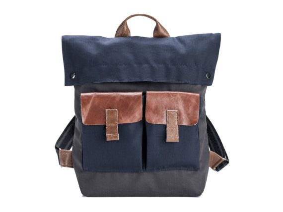 Backpack Black Mens Backpack Canvas and Leather Gift for by Gazur