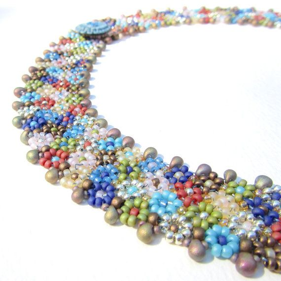 Learn how to bead this Morocco Collar - a magical carpet of flowers made from colourful seed beads. The stitch is a clever combination of daisychain and
