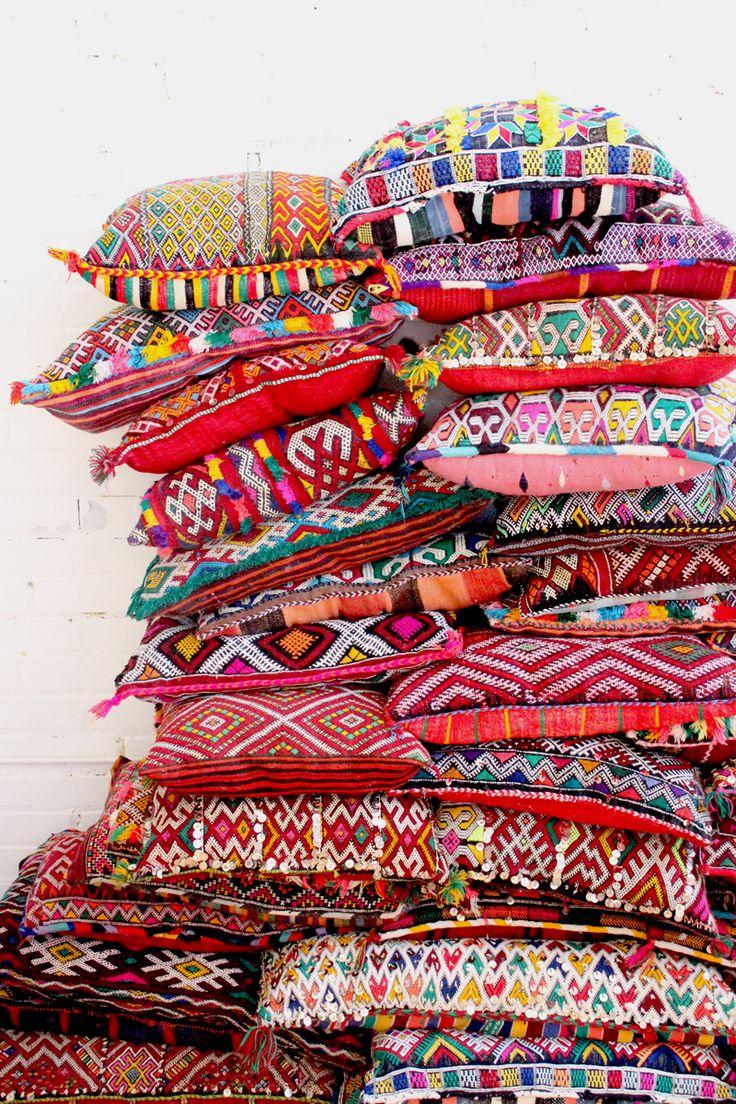 Kilim Bohemian Moroccan Pillow, Handmade - Baba Souk