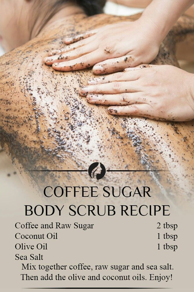 Coffee sugar body scrub. Coffee grounds, brown sugar and a dash of olive oil to bring it into paste form. The scrub will exfoliate, moisturizes, fight cellulite + get rid of the red bumps on the back of arms.