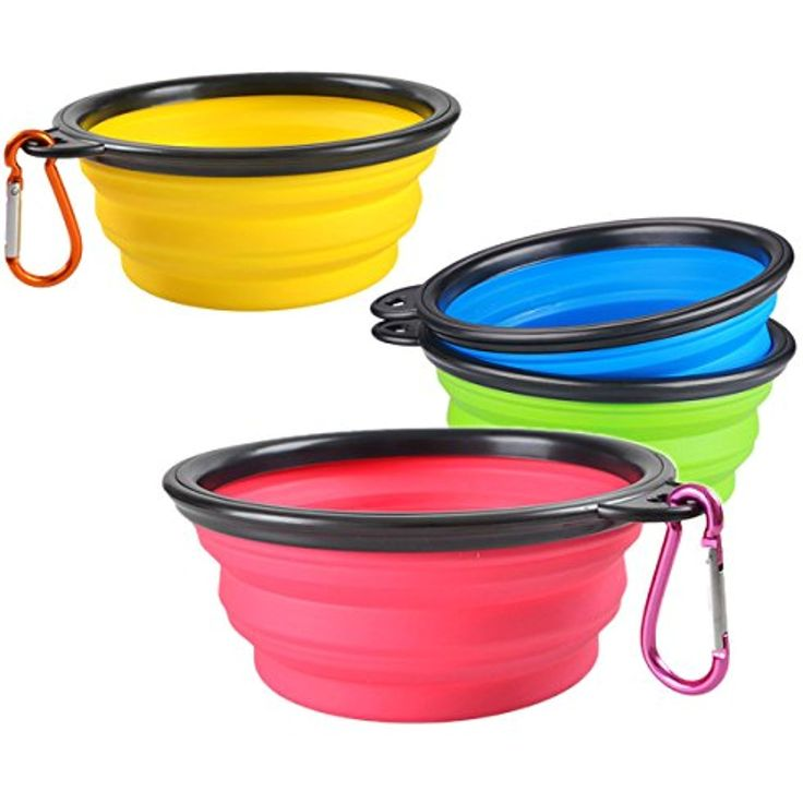 Accmor Collapsible Dog Bowls, 4 Pack Foldable Expandable Cup Dish Cat Dog Food & Water Bowls with Carabiner, Portable Travel Bowls for Journeys, Hiking, Dishwasher Safe BPA Free FDA Approved ~ Please be sure to check out this awesome product. (This is an affiliate link and I receive a commission for the sales)