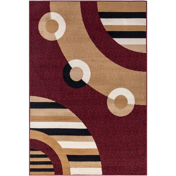 Paterson Circles Dark Red Area Rug 82 X 910
