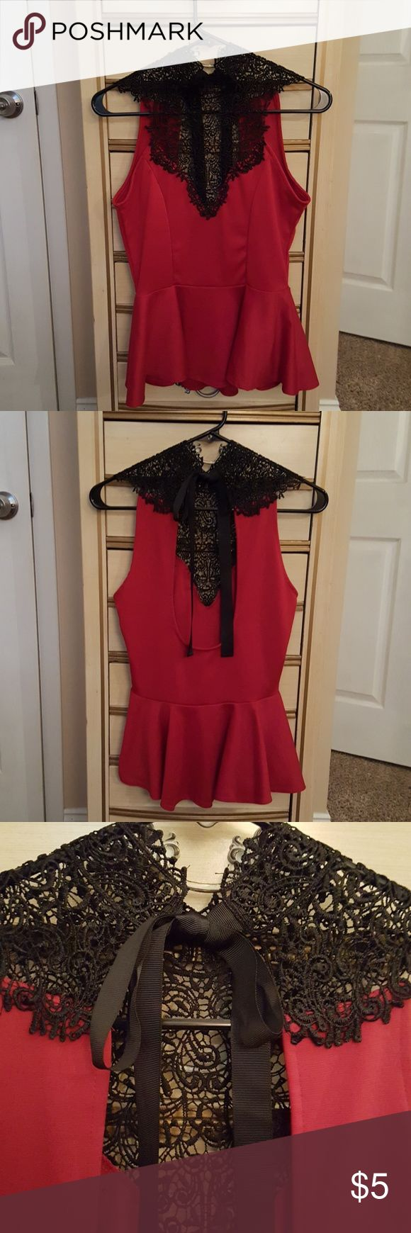 Red and black high neck peplum top Has a high neck with peplum bottom. Ribbon tie in back of neck and open back for more drama. Lace and sheer Arden B Tops Blouses