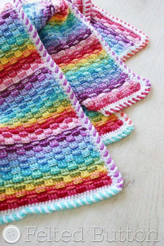 Crochet Rainbow Baby Blanket Pattern By Flavia : Crochet Pattern, Basket of Rainbows, Baby, Afghan, Throw ...