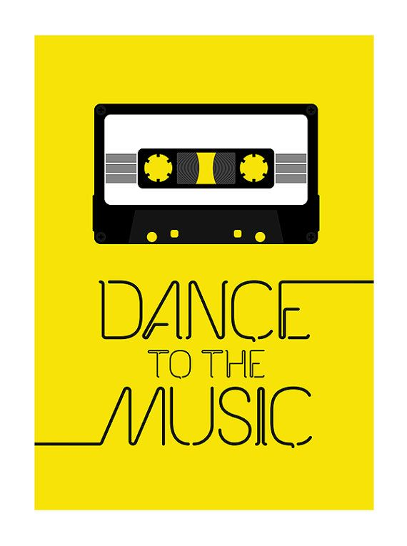 Retro poster print retro typography kitchen art office 70s 80s music cassette tape - Dance to the music A3 Yellow    Digital print.  A3 - 29.7 x 42.7 cm