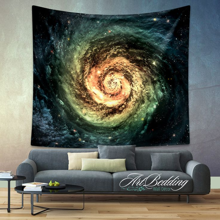 Galaxy Tapestry, Green spiral galaxy wall tapestry, Galaxy tapestry wall…