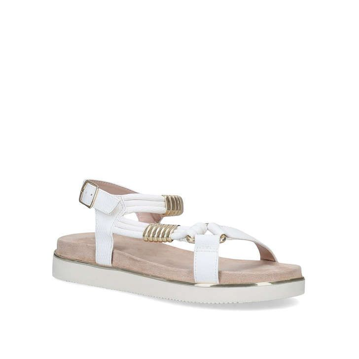 Boujee White Chunky Gold Detail Sandals