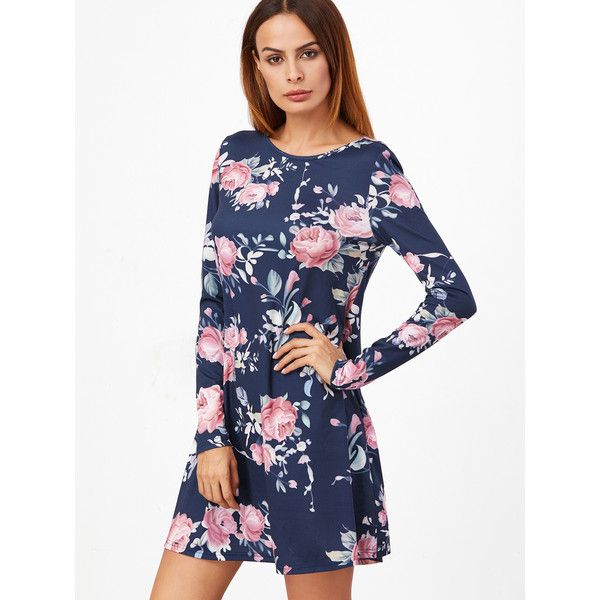 SheIn(sheinside) Navy Floral Print Long Sleeve Swing Dress (£11) ❤ liked on Polyvore featuring dresses, navy, floral dresses, navy blue floral dress, trapeze dresses, long-sleeve floral dresses and white long-sleeve dresses