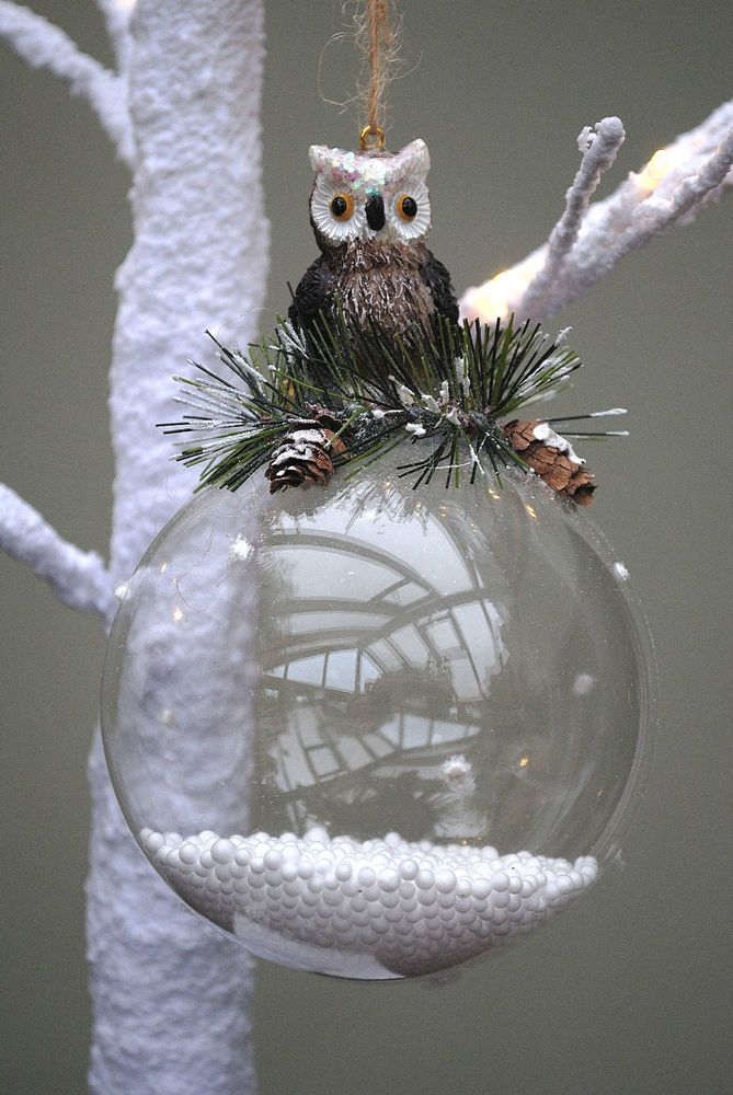 Best images about owl christmas glass ornament uil