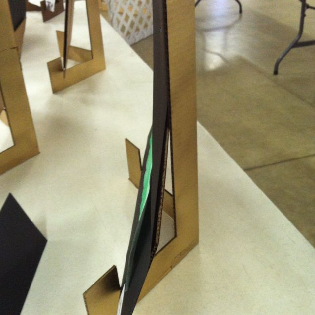 Cardboard display easel. Easy and inexpensive way to display student work.