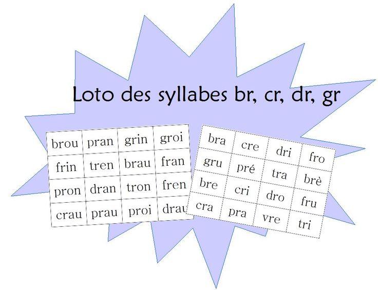 """Un loto pour travailler les syllabes """"br cr gr fr pr tr vr"""" avec voyelles et sons complexes"""