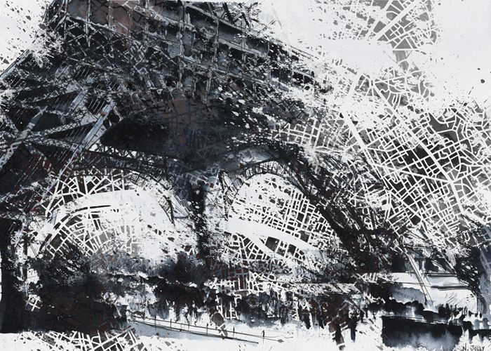 Paris. Aquarelle + Acrylique + Carte paris