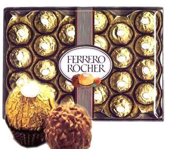 ferrero rocher 24 pcs  (ferrero rocher)  send this mouth watering chocolate to noida.24 Pcs. Ferrero rocher chocolate.