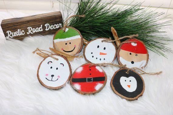 Wood Slice Ornaments Christmas Tree Ornaments Rustic Christmas Decor Rus Wooden Christmas Ornaments Christmas Decorations Rustic Rustic Christmas Ornaments