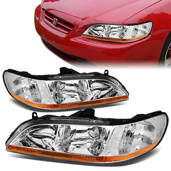98 02 Honda Accord Headlights Chrome Housing Amber Corner Honda Accord Honda Headlights