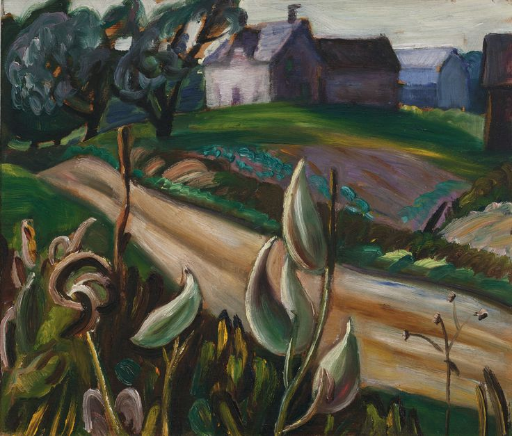 'Country Road with Farm Buildings and Milkweed' - Prudence Heward (1896-1947)